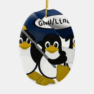 ¡GNU/Linux! Adorno Navideño Ovalado De Cerámica