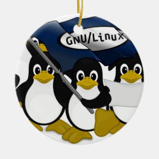 ¡GNU/Linux! Adorno Navideño Redondo De Cerámica