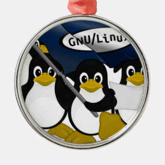 ¡GNU/Linux! Adorno Navideño Redondo De Metal