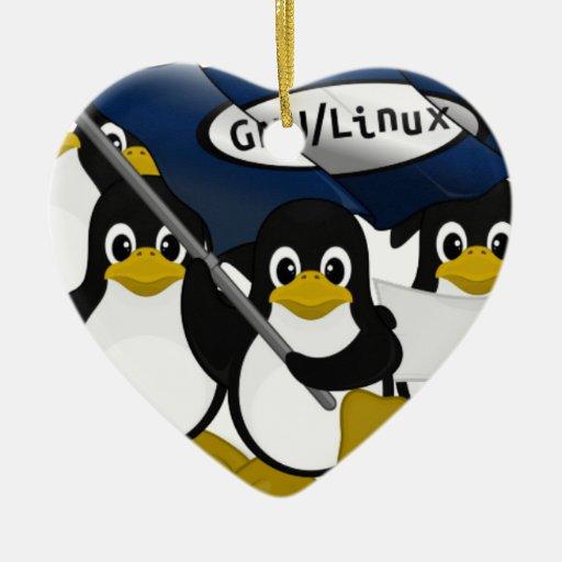 GNU/Linux! Double-Sided Heart Ceramic Christmas Ornament