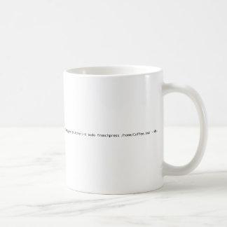 GNU/Linux Penguin logo mug with command line