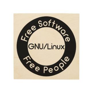 GNU/Linux Wood Print