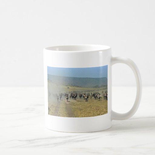 Gnus and zebras running mug