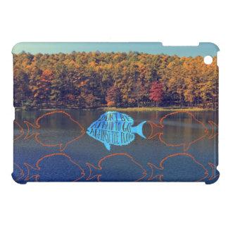 Go Against the Flow Fish Silhouette in Autumn Lake iPad Mini Cases