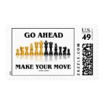 Go Ahead Make Your Move (Reflective Chess Set) Postage Stamp
