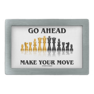 Go Ahead Make Your Move (Reflective Chess Set) Rectangular Belt Buckle