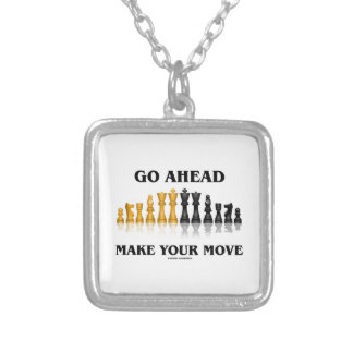Go Ahead Make Your Move (Reflective Chess Set) Silver Plated Necklace