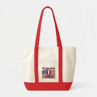 Go America! with American Flag - wood grain Canvas Bag