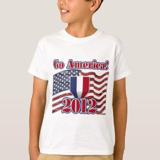 Go America! with American Flag - wood grain T-Shirt