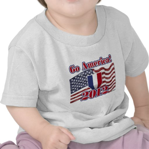 Go America! with American Flag - wood grain Shirts