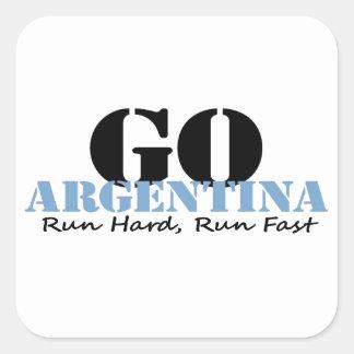 Go Argentina Run Fast Square Sticker