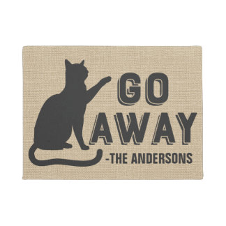 Go Away Cat Funny Family Name Monogrammed Custom Doormat