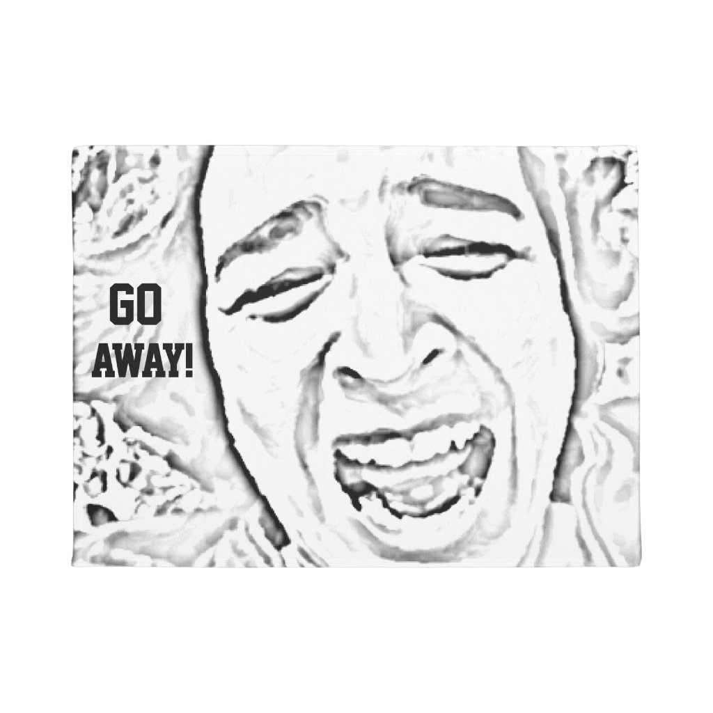 Hilarious Crying Face Design Go Away Doormat