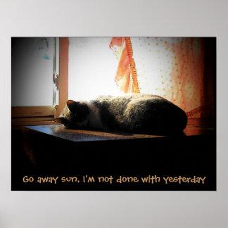 Go Away Sun - Sleeping Cat Poster