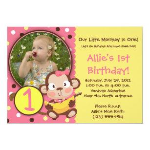 monkey 1st birthday invitations zazzle