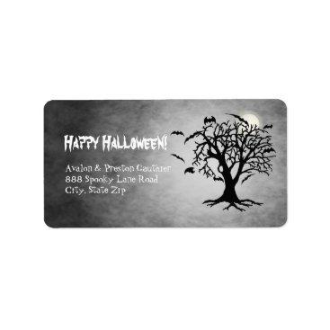 Halloween Themed Go Batty Silver Moon Address Labels