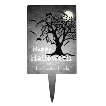 Halloween Themed Go Batty Silver Moon Halloween Cake Topper
