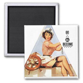 Go Become Vintage Pinup Gal Digital Art 2 Inch Square Magnet
