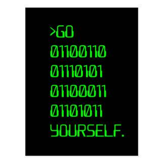 Go ( Binary Curse Word ) Yourself Postcard