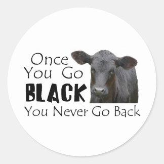 Go Black Angus Round Sticker
