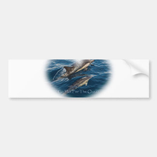 Go Blue for the Ocean Mother and Child Dolphin Bumper Sticker
