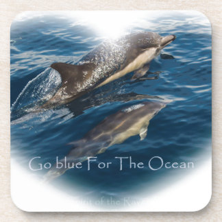 Go Blue for the Ocean Mother and Child Dolphin Drink Coaster
