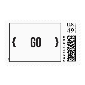 Go - Bracketed - Black and White Postage