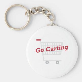 Go Carting Basic Round Button Keychain
