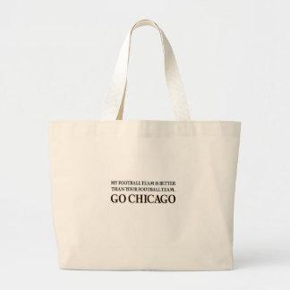 GO CHICAGO (black shuffle) Large Tote Bag