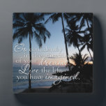 "Go confidently Thoreau Quote Small Photo Plaque<br><div class=""desc"">Go confidently in the direction of your dreams. Live the life you have imagined. ~ Henry David Thoreau Motivational, inspirational quote on a beach and palm tree background at sunset Graphic Design by Awaken Dreams Design. *IMPORTANT NOTICE TO BUYERS: You are purchasing an original design piece ONLY; NOT the rights...</div>"