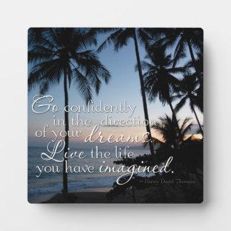 Go confidently Thoreau Quote Small Photo Plaque