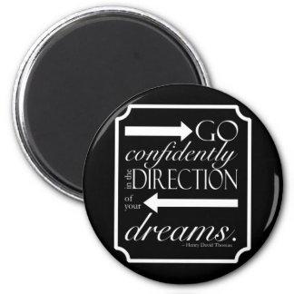 Go Confidently -- White on Black Magnet