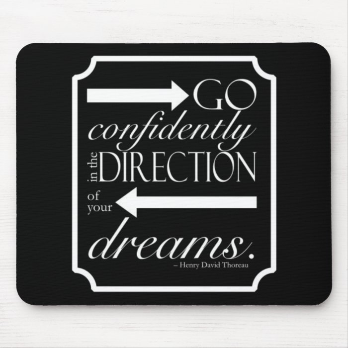 Go Confidently -- White on Black Mouse Pad