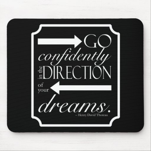Go Confidently -- White on Black Mousepads