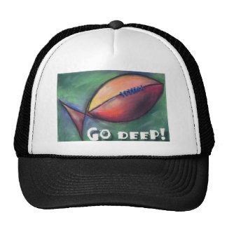 Go Deep! Christian fish football Trucker Hat
