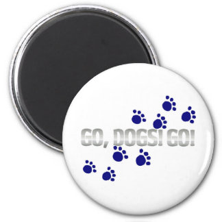 go, dogs! go! with blue paw prints 2 inch round magnet