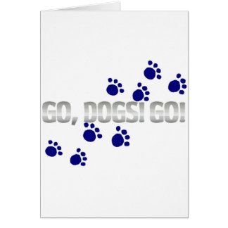go, dogs! go! with blue paw prints card