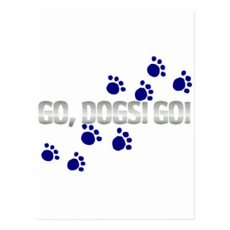 go, dogs! go! with blue paw prints postcard