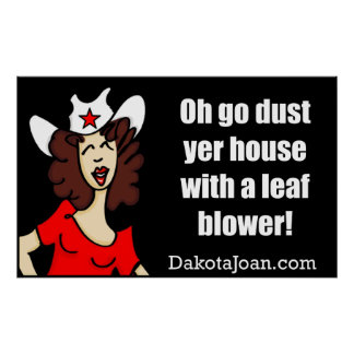 Go dust yer house with a leaf blower! poster