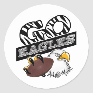 GO EAGLES ZEBRA Claw & Football Classic Round Sticker