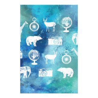 Go explore! Pretty blue travel watercolor pattern Flyer