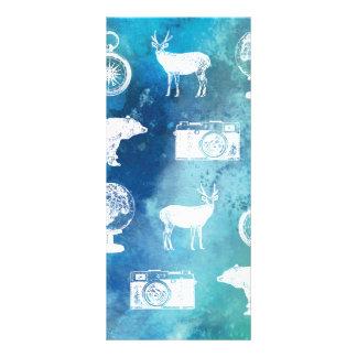 Go explore! Pretty blue travel watercolor pattern Rack Card