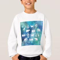 Go explore! Pretty blue travel watercolor pattern Sweatshirt