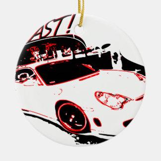 go fast adorno navideño redondo de cerámica