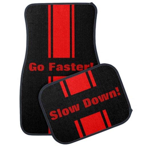 Go Faster Slow Down Red Racing Stripe Floor Mats Car Floor Mat