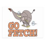 go fetch funny elephant cartoon post cards
