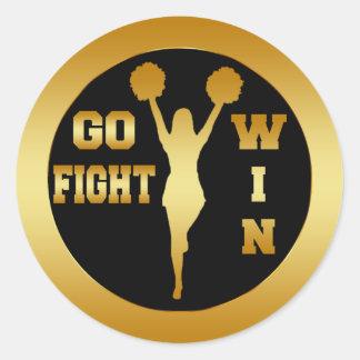 GO FIGHT WIN GOLD CHEERLEADER ROUND STICKERS