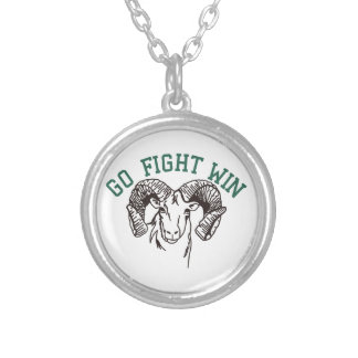 Go Fight Win Round Pendant Necklace