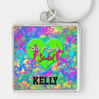 Go Figure Skate Rainbow Keychain - ADD NAME