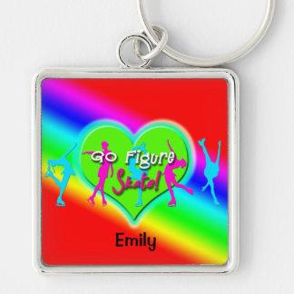 Go Figure Skate Rainbow Keychain (LG, Square)